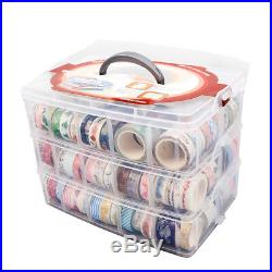 Clear Compartment Box Transparent Plastic Storage 3 Layer Divider Large Craft