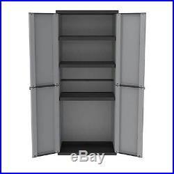 Compact Garden Shed Plastic Large Storage Tool Box Broom 3 Rack Cupboard Cabinet