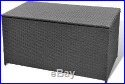 Cushion Storage Box Garden Patio Outdoor Large Rattan Chest Trunk Black Home