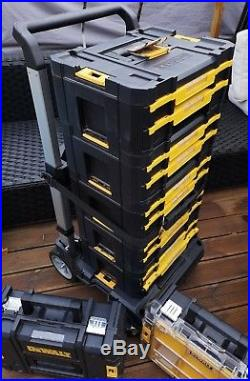 DeWalt TStak Wheeled Trolley FULLY LOADED 7 BOXES T Stak TOOLS STORAGE TOWER