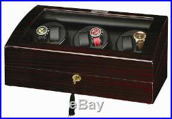 Diplomat Gothica Ebony Wood Six 6 Watch Winder Storage Box Case Black Leather