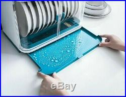 Dish Rack Cupboard Plastic Kitchen Drain With Lid Tableware Cutlery Storage Box