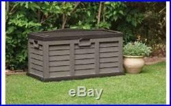 Extra Large Outdoor Garden Storage Container Unit Box Trunk Brown Wheeled Chest