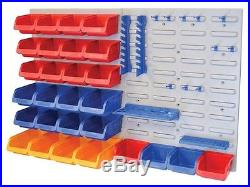 Faithfull FAIPAN43 XMS14BINS Storage Bin Box Set with Wall Panel Trays 43 Pieces