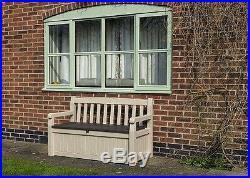 Garden Bench Box Plastic Storage 270L Lockable Durable Waterproof Tools Cushions