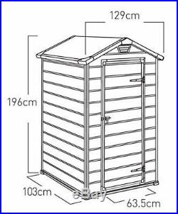 Garden Manor Shed Grey Tall Patio Outdoor Utility Storage Container Plastic Box
