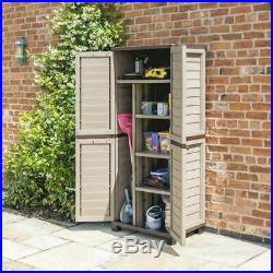Garden Shed Tall Brown Strong Outdoor Plastic Utility Storage Container Unit Box