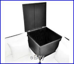 Garden Sofa Corner Set With Storage Box Outdoor Seat 14 Pieces Poly Rattan Black