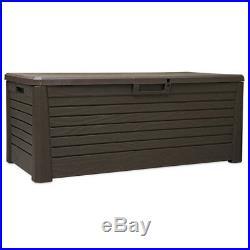 Garden Storage Box Utility Chest Weatherproof Large Plastic Seat Outdoor Garden