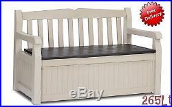 Garden Storage Plastic Bench Outdoor Patio Furniture Box Balcony Store 265L