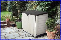 Garden Storage Tools Box Unit Outdoor Shed Wheelie Bins Weatherproof Chest Trunk