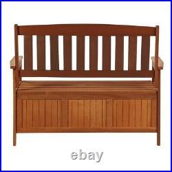 Homcom Acacia Wood Garden Storage Bench Box Brown