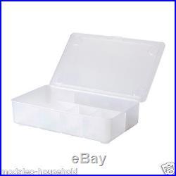 Ikea Glis Transpa Clear Pencil Storage Box Compartments Hinged Lid Uk B786
