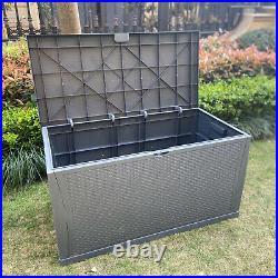 Indoor/Outdoor Rattan Weave Effect Garden Storage Box Plastic Cushion Box 460L
