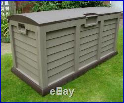 JUMBO XL SIZE Brown Garden Storage Utility Cushion Box Plastic Waterproof