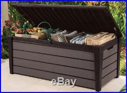 KETER Brushwood Wood Look Tough Plastic Garden Storage Box Big 455 Litres
