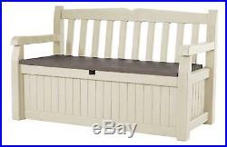 Keter Bench Outdoor Plastic Storage Box Garden Furniture, Beige And Brown Seat