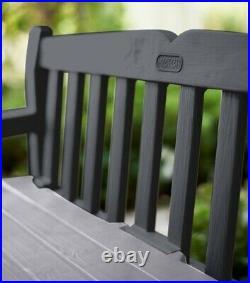 Keter Eden Anthracite Grey Plastic Garden Storage Bench Box Waterproof New