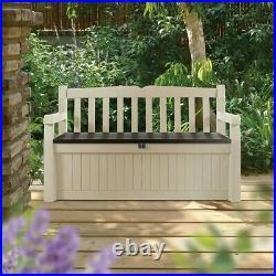 Keter Eden Bench 265L Outdoor Plastic Storage Box Garden Furniture