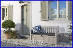 Keter Eden Bench Outdoor Plastic Garden Storage Box Beige &Brown-140 x 60 x 84cm