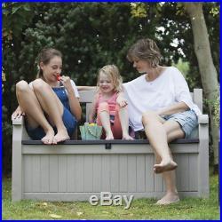 Keter Eden Bench Outdoor Plastic Storage Box Garden Furniture, Beige and Brown