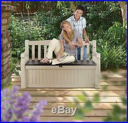 Keter Eden Bench Outdoor Storage Box Garden Furniture, 140 X 60 84 Cm Beige