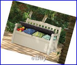 Keter Eden Bench Outdoor Storage Box Garden Furniture 140 x 60 x 84 cm Beige