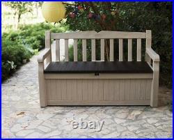 Keter Eden Bench Outdoor Storage Box Garden Furniture Beige & Brown 265L