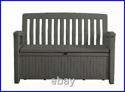 Keter Eden Bench Outdoor Storage Box Garden Furniture, Graphite and Grey