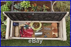 Keter Iceni Eden Plastic Garden Storage Bench Box Beige Waterproof