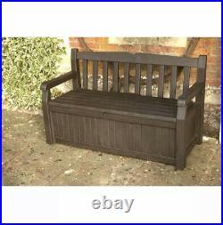 Keter Iceni Eden Plastic Garden Storage Bench Box Dark Brown Waterproof