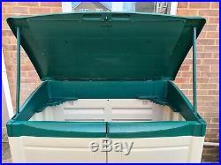 Keter Large Plastic Garden Outdoor Storage Box/Shed Lockable Beige/Green