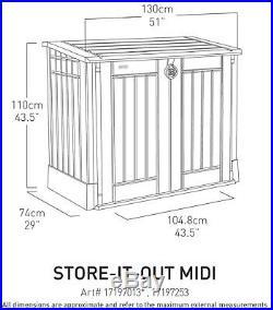 Keter Plastic Store it Out Midi Garden Storage Box Wheelie Bins Bike Tool Shed