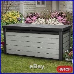 Keter Rockwood Huge Plastic Garden Storage Deck Box 570 Litre Capacity XL GREY
