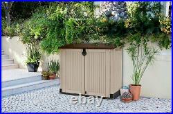 Keter Store It Out Midi 845L Garden Storage Box Beige Brown