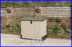 Keter XL Store It Out Midi Lockable Outdoor Garden Bin Storage Box Wood Effect