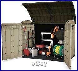 Keter XX Large Horizontal Shed Garden Outdoor Storage Box Bike Beige/Brown