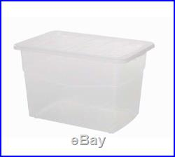 Large 60L Heavy Duty Strong Clear Plastic Storage Box With Lid Container Boxes