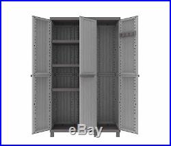 Large Plastic Garden Storage Box Cupboard Unit 3 Shelves Store Wardrobe Patio UK