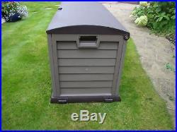 Large Plastic Garden Storage Box Lockable Waterproof Garage Wheels Shed Outdoor