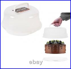 Large Round Cake Storage Carrier Box Cake Muffin Container Clear Lockable Lid