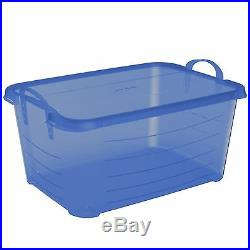 Life Story Blue 55 Quart Stackable Closet Storage Box Containers Totes (12 Pack)
