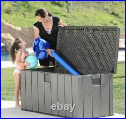 Lifetime 568 Litre Simulated Wood Look Outdoor Garden Patio Storage Deck Box