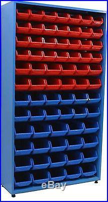Metal Cupboard Style Stand Adjustable Feet & 72 Plastic Parts Bins Storage Boxes