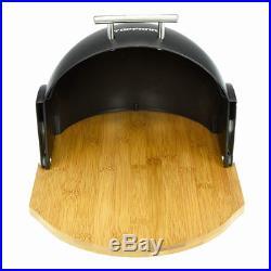 Modern Bread Bin Food Storage Box Loaf Roll Large Kitchen Black Bamboo Gift Wood
