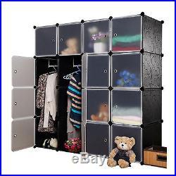 Multi Boxes Interlocking Cube Plastic Storage Clothes Wardrobe Organizer Stand