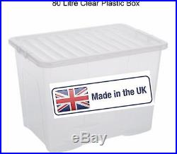 Multi Packs Off 80 Litre Plastic Storage Box Clear LID New Strong Box