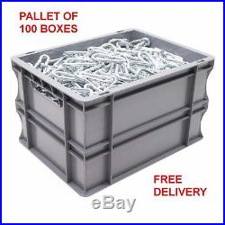 NEW 100 x 20 Litre Heavy Duty Grey Plastic Euro Storage Container Boxes Box Bins