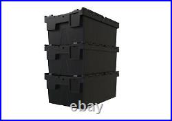 NEW BLACK RECYCLED Plastic Storage Boxes Containers Crates Totes with Lids