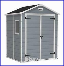 NEW IN BOX KETER MANOR SHED 6x5 DD DOUBLE DOOR GREY PLASTIC GARDEN STORAGE £599